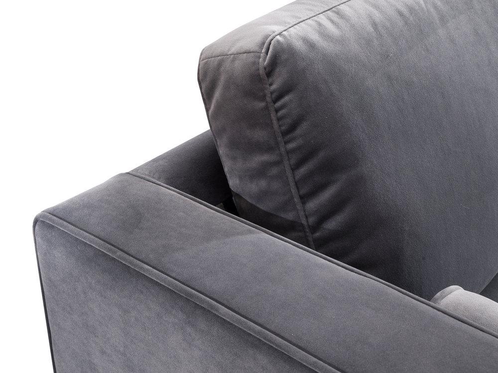 TOV Furniture - Como Grey Velvet Sectional Right Arm Facing