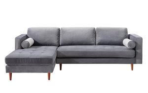 Thumbnail of TOV Furniture - Como Grey Velvet Sectional Left Arm Facing