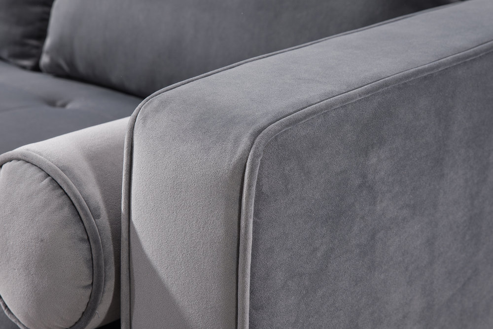 TOV Furniture - Como Grey Velvet Sectional Left Arm Facing