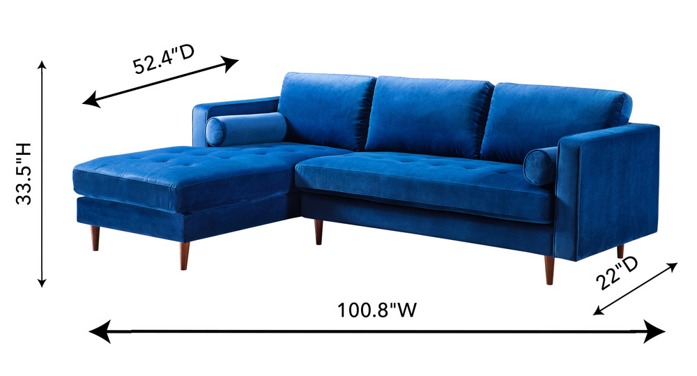 TOV Furniture - Como Navy Velvet Sectional Left Arm Facing