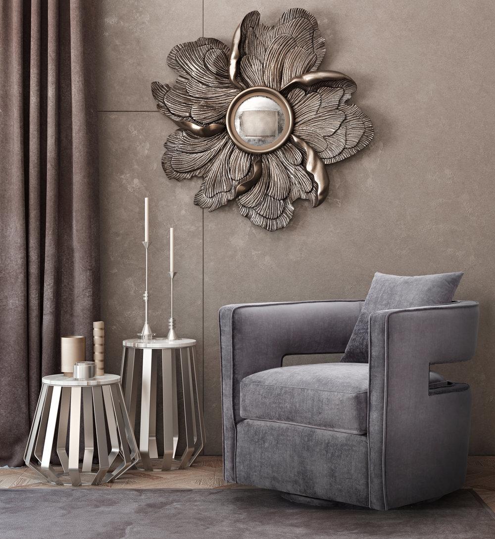 TOV Furniture - Kennedy Grey Swivel Chair