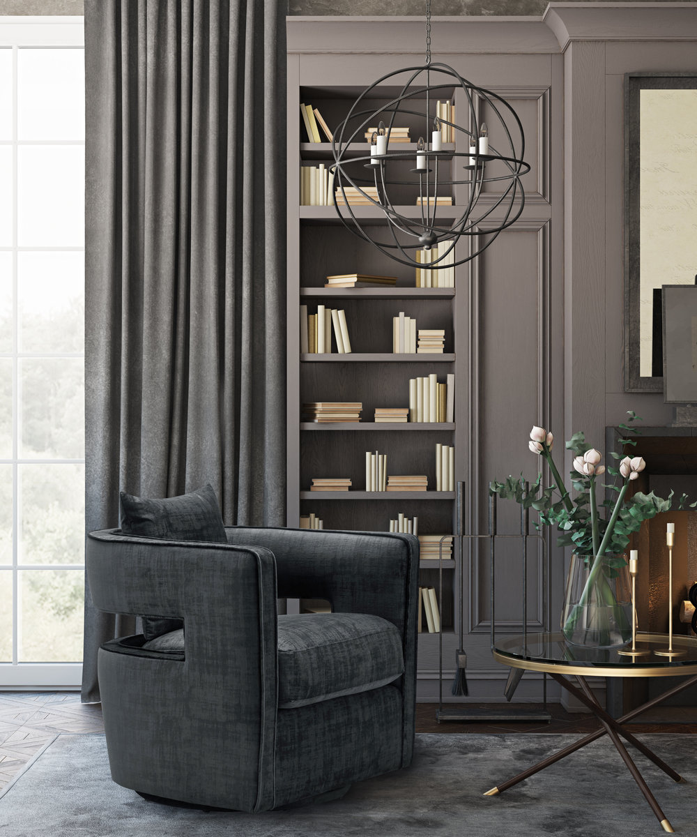 TOV Furniture - Kennedy Black Swivel Chair