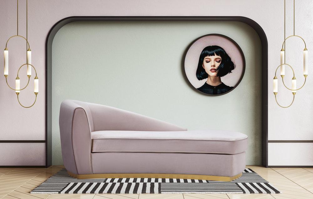 TOV Furniture - Adele Blush Velvet Chaise