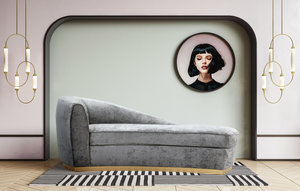 Thumbnail of TOV Furniture - Adele Grey Slub Velvet Chaise