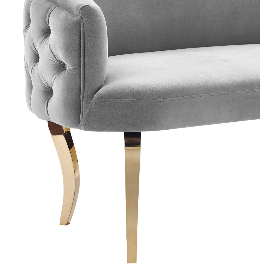 TOV Furniture - Adina Grey Velvet Loveseat with Gold Legs
