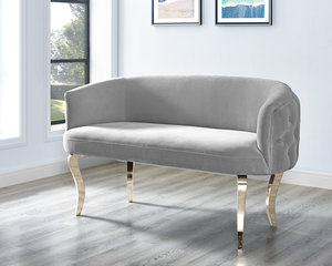 Thumbnail of TOV Furniture - Adina Grey Velvet Loveseat with Gold Legs