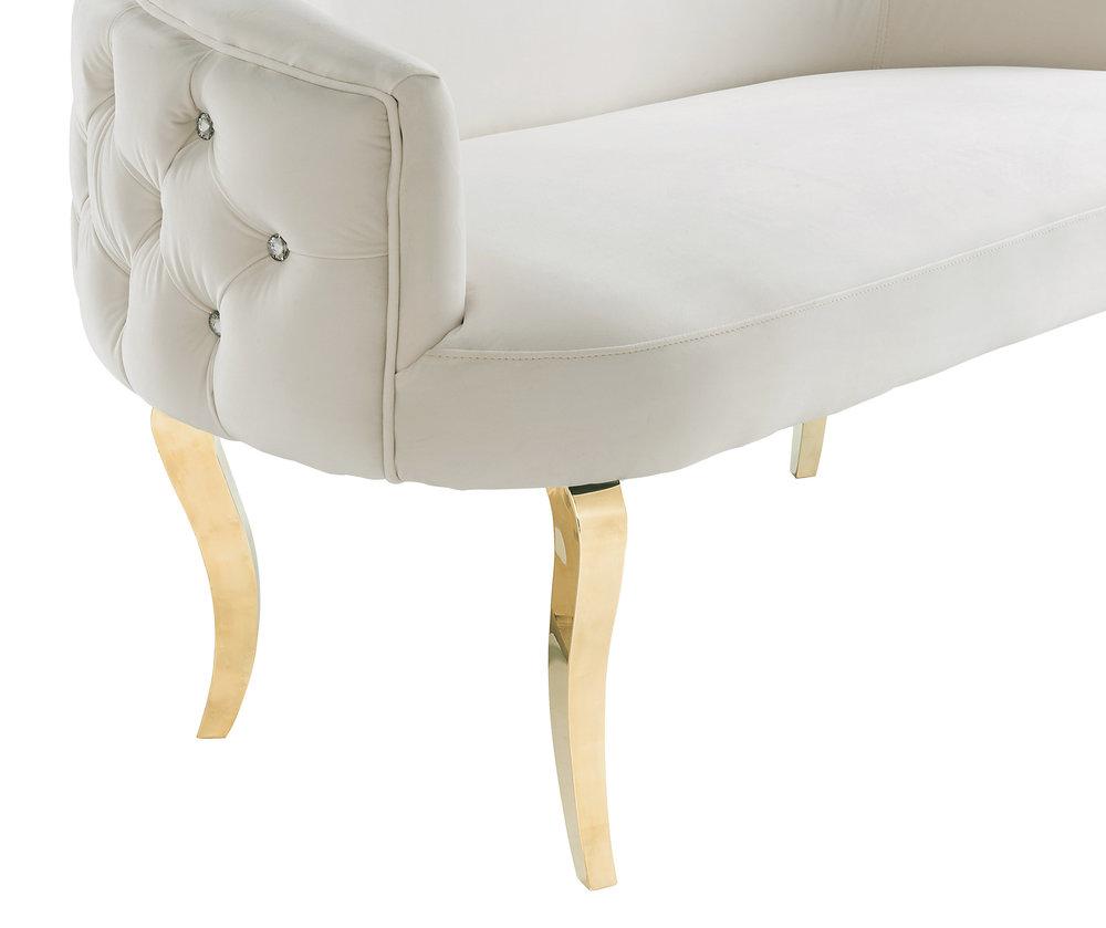 TOV Furniture - Adina White Velvet Loveseat with Gold Legs