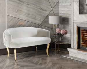 Thumbnail of TOV Furniture - Adina White Velvet Loveseat with Gold Legs