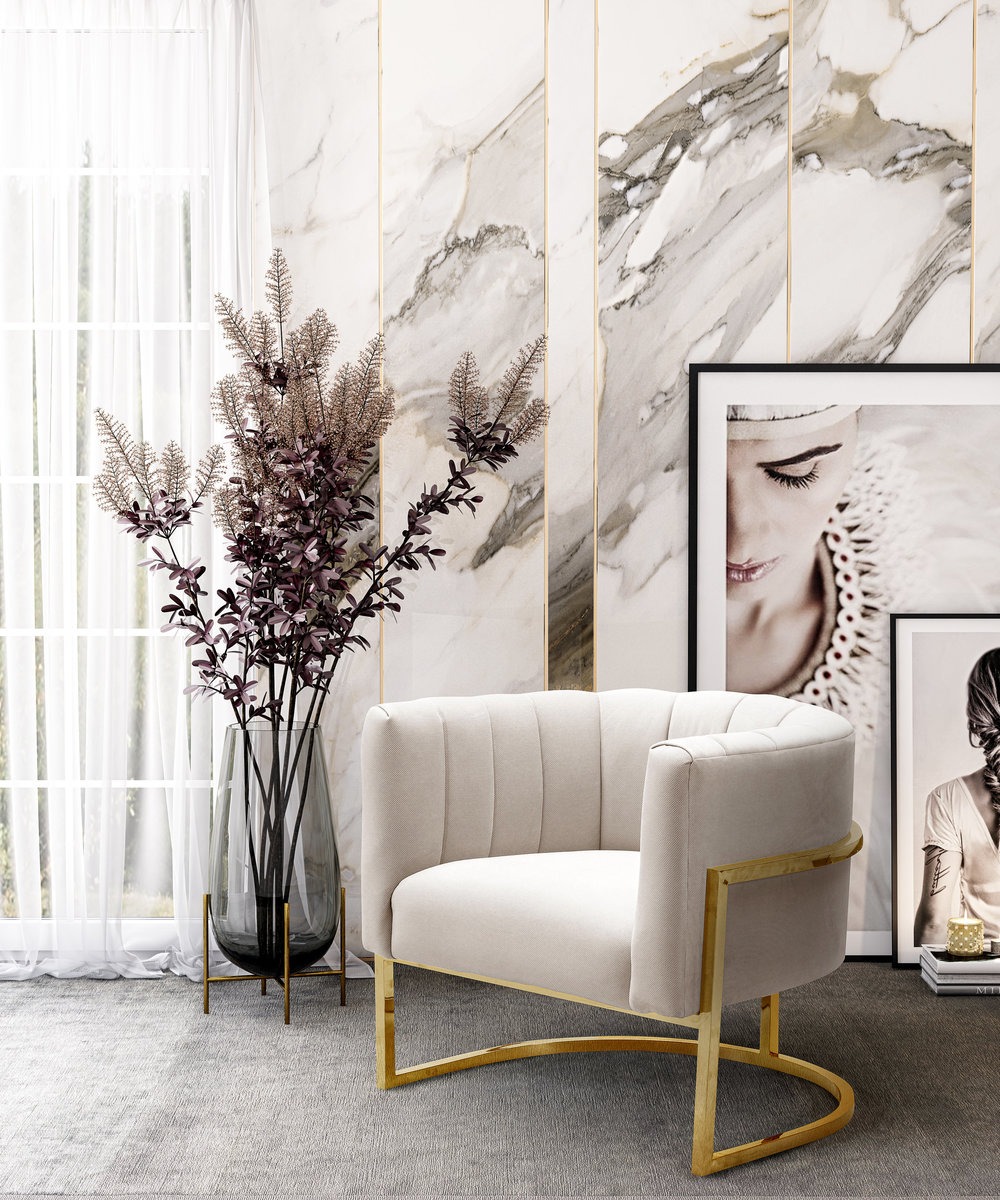 TOV Furniture - Magnolia Spotted Cream Chair with Gold
