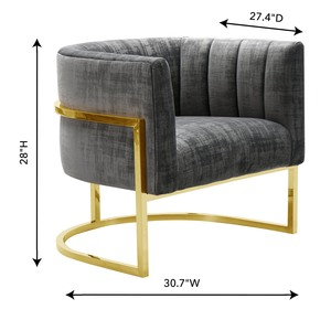 Thumbnail of TOV Furniture - Magnolia  Slub Grey Chair with Gold Base