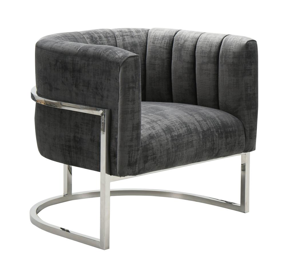TOV Furniture - Magnolia  Slub Grey Chair with Silver Base