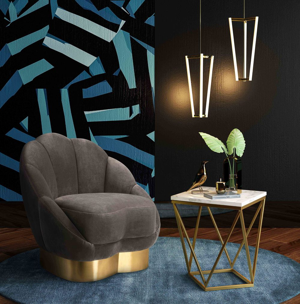 TOV Furniture - Bloom Light Grey Velvet Chair