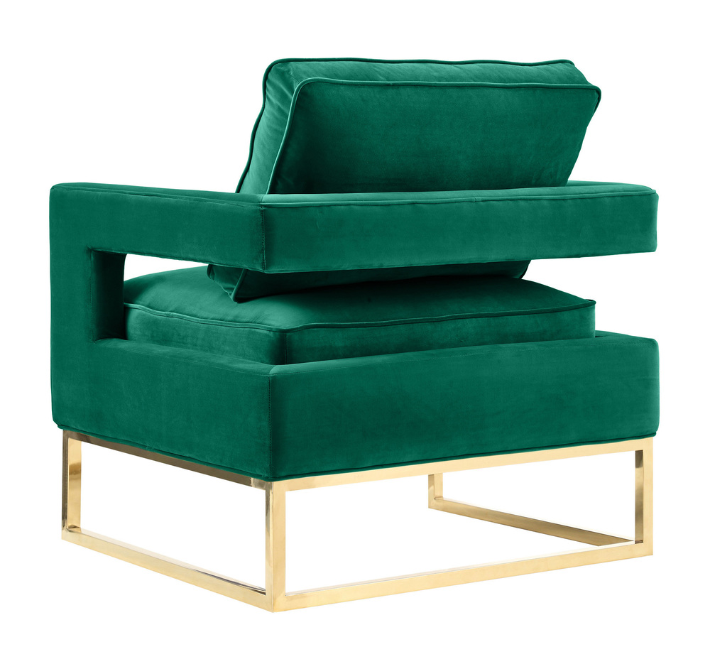 TOV Furniture - Avery Forest Green Velvet Chair with brushed gold base