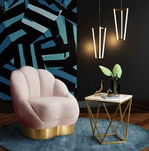 Thumbnail of TOV Furniture - Bloom Blush Velvet Chair