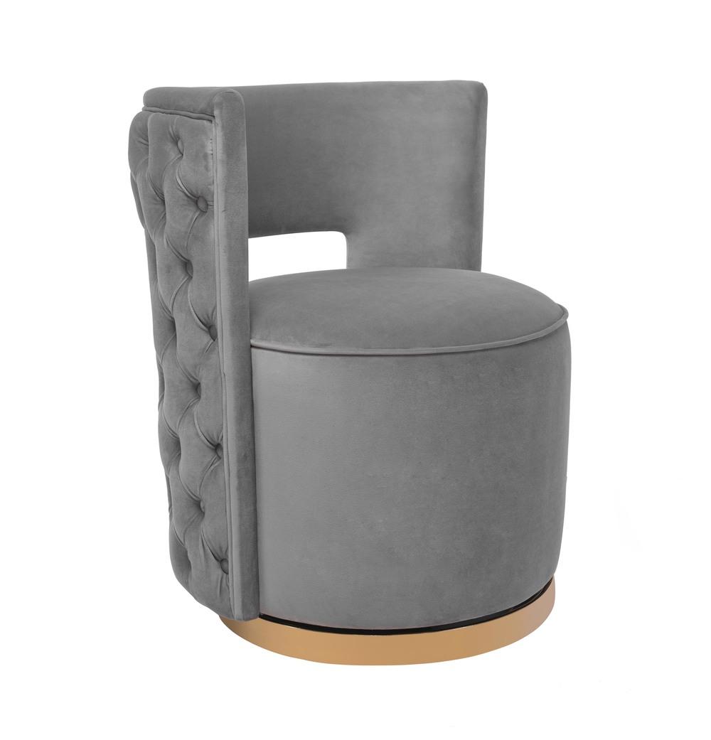 TOV Furniture - Mimosa Grey Velvet Swivel Chair