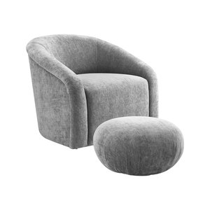 Thumbnail of TOV Furniture - Boboli Grey Chenille Chair and Ottoman Set