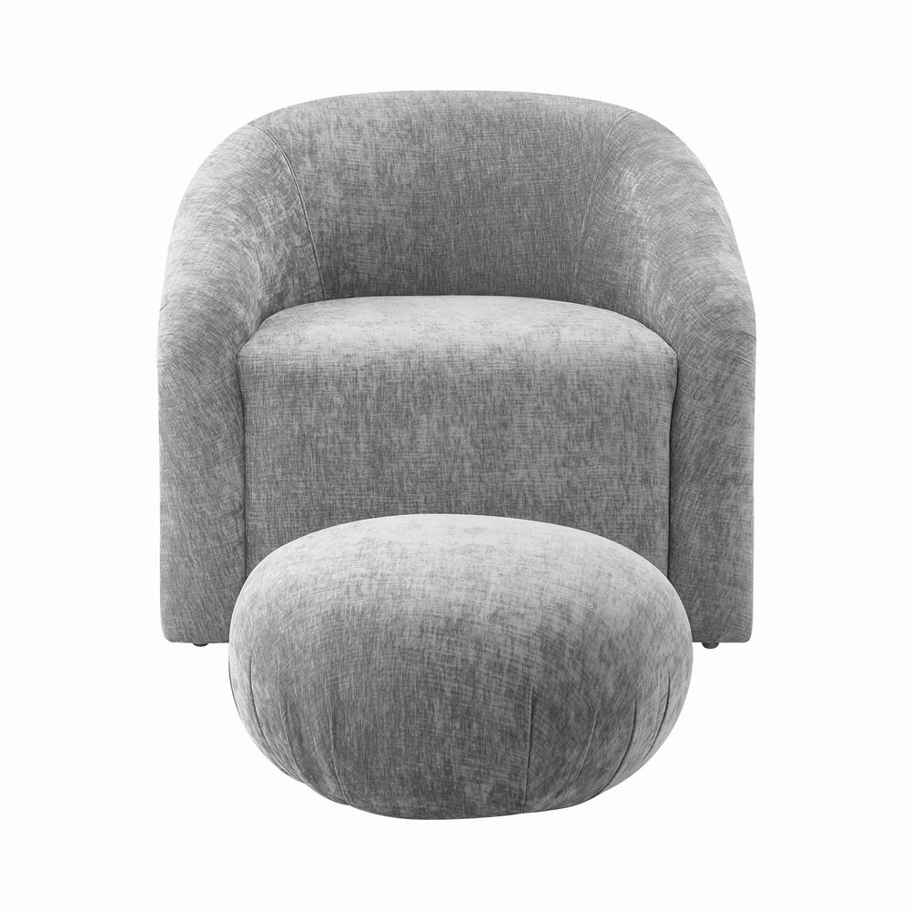 TOV Furniture - Boboli Grey Chenille Chair and Ottoman Set
