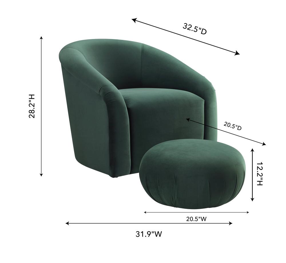 TOV Furniture - Boboli Forest Green Velvet Chair and Ottoman Set