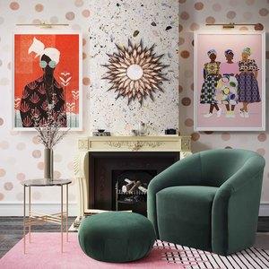 Thumbnail of TOV Furniture - Boboli Forest Green Velvet Chair and Ottoman Set