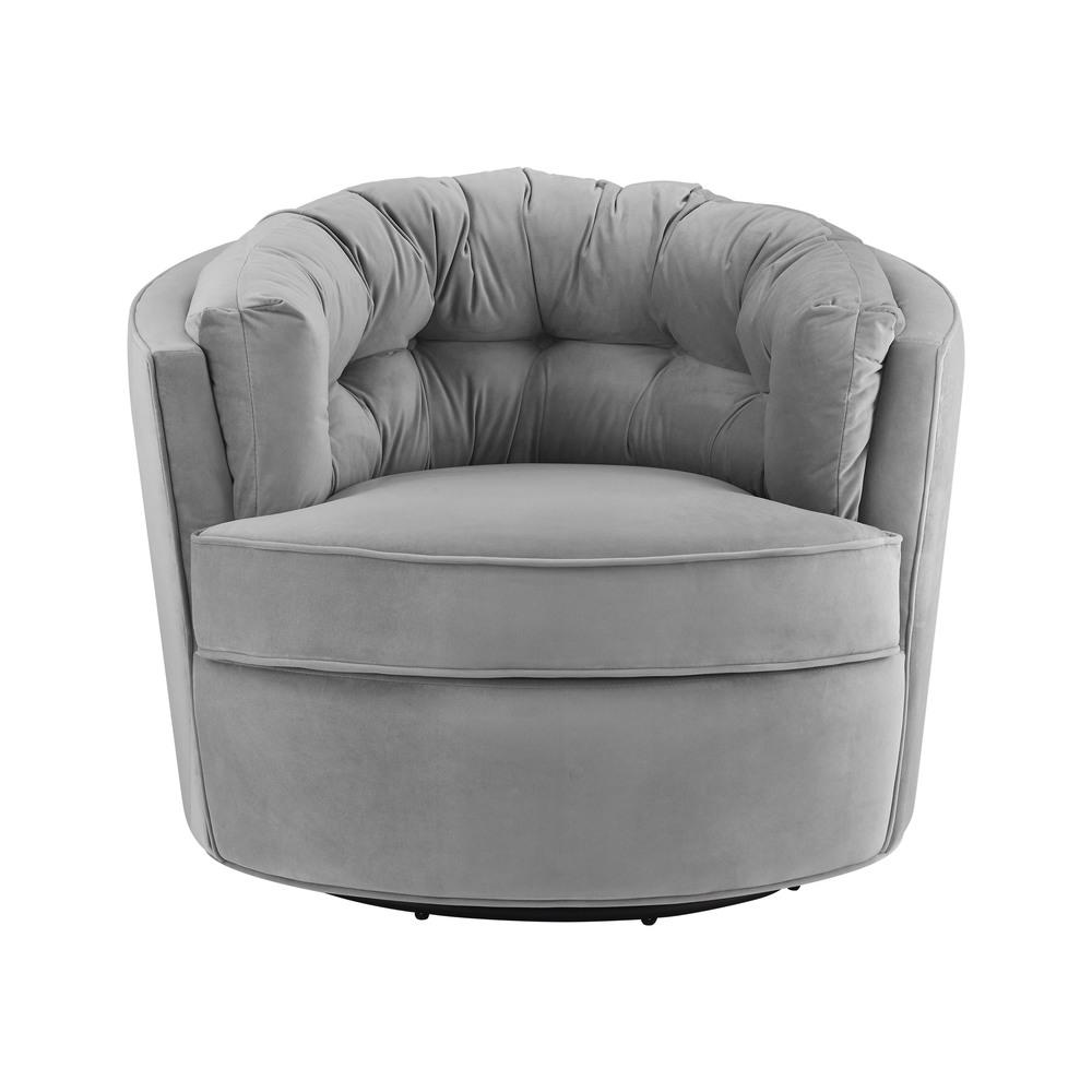 TOV Furniture - Eloise Grey Velvet Swivel Chair