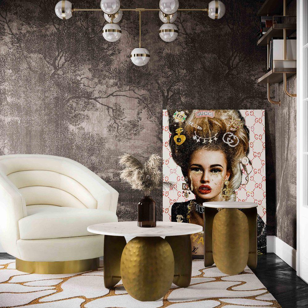 TOV Furniture - Canyon Cream Velvet Swivel Chair