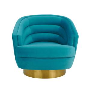 Thumbnail of TOV Furniture - Canyon Blue Velvet Swivel Chair