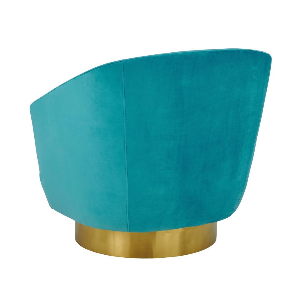TOV Furniture - Canyon Blue Velvet Swivel Chair