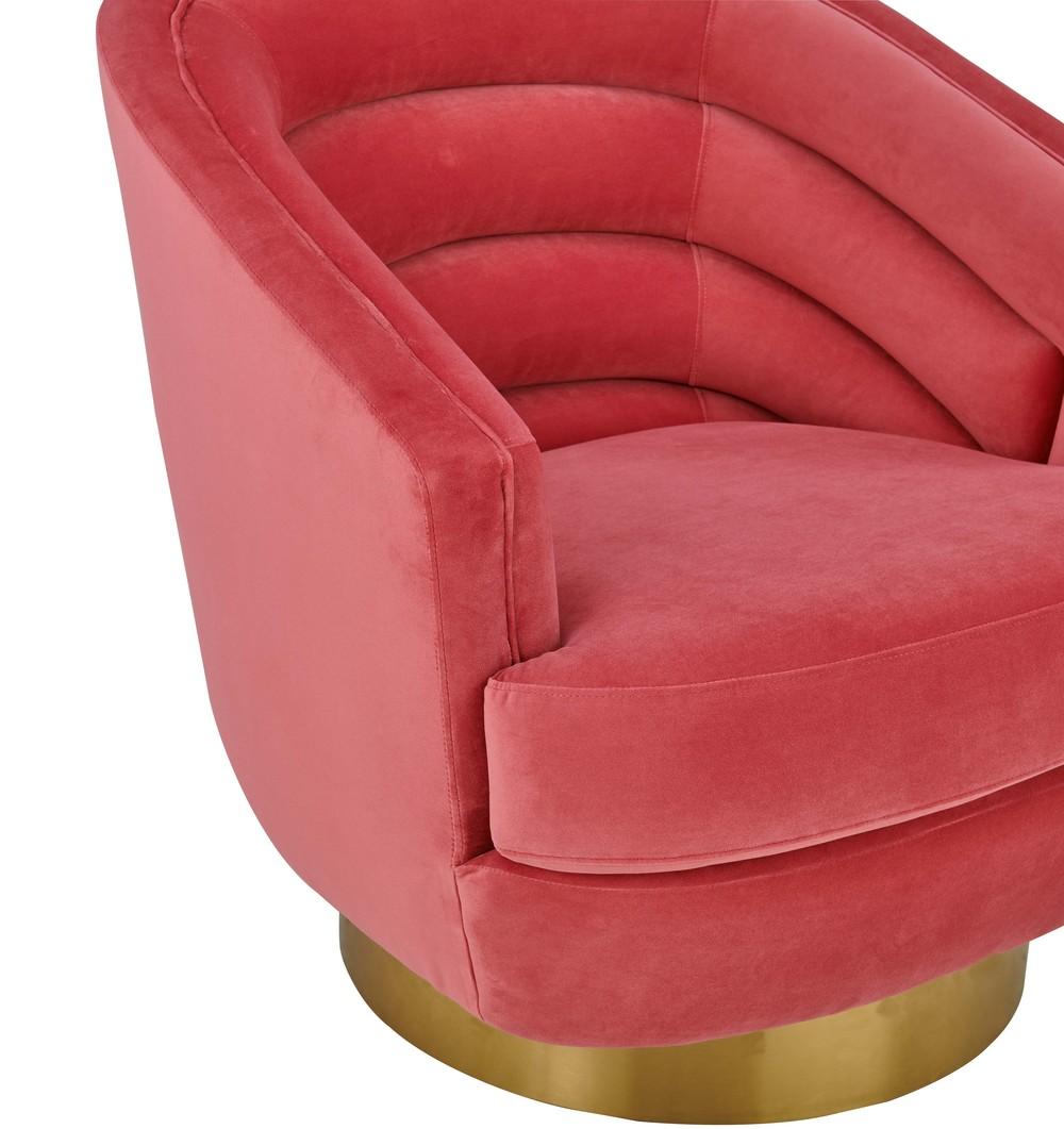 TOV Furniture - Canyon Hot Pink Velvet Swivel Chair