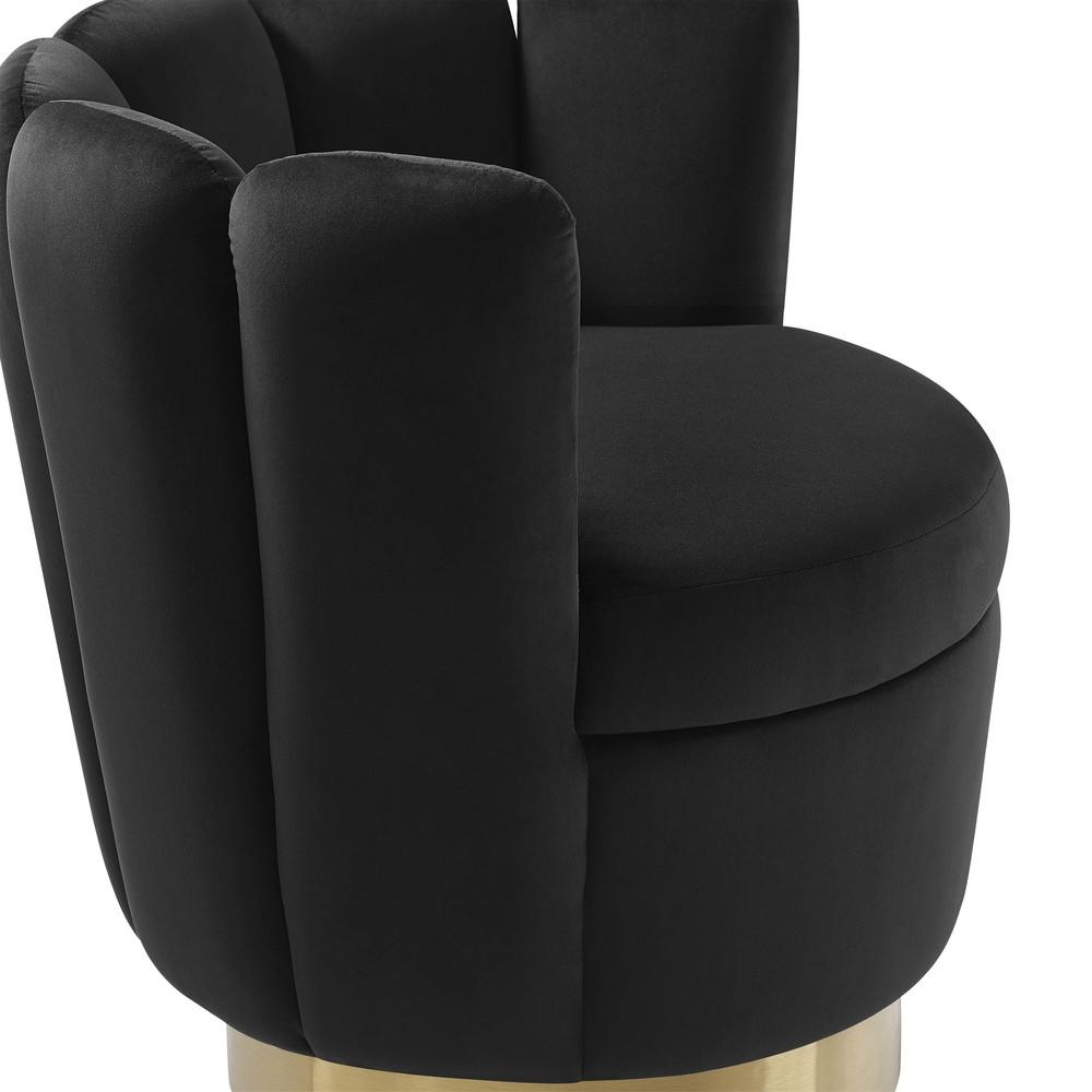 TOV Furniture - Yad Black Velvet Swivel Chair