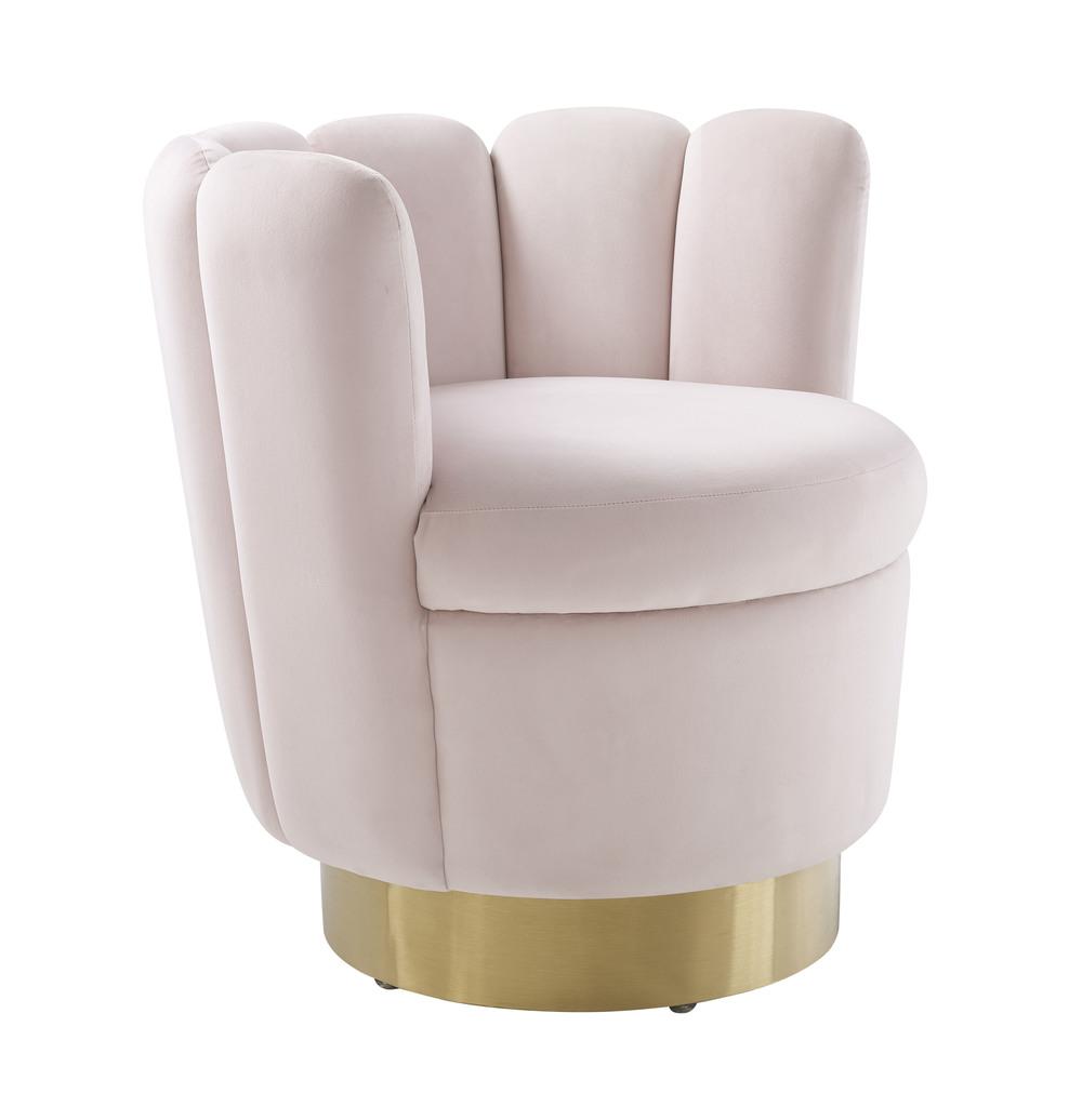 TOV Furniture - Yad Blush Velvet Swivel Chair