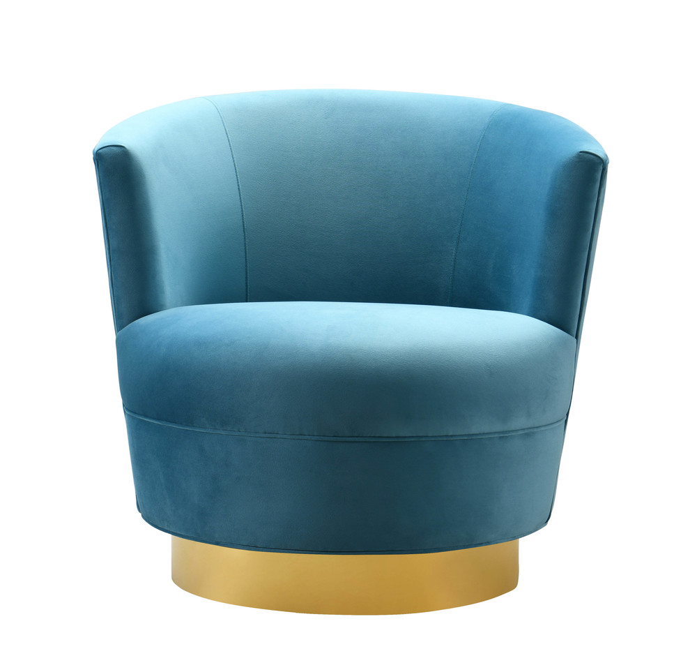 TOV Furniture - Noah Lake Blue Swivel Chair