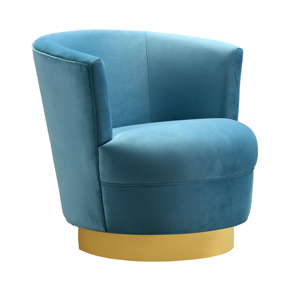 TOV Furniture - Noah Lake Blue Swivel Chair
