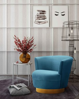 Thumbnail of TOV Furniture - Noah Lake Blue Swivel Chair
