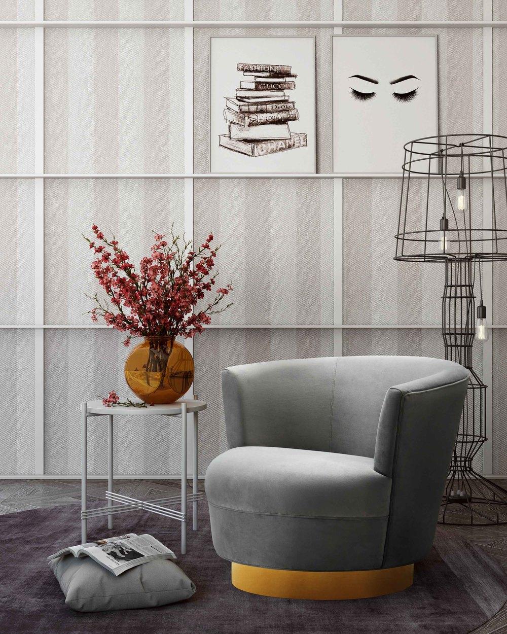 TOV Furniture - Noah Grey Swivel Chair