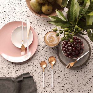 Thumbnail of TOV Furniture - Stainless Steel Rose Gold and White 20 Piece Flatware Set