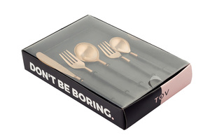 Thumbnail of TOV Furniture - Stainless Steel Rose Gold and Black 20 Piece Flatware Set