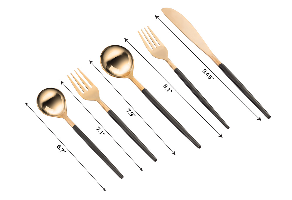 TOV Furniture - Stainless Steel Rose Gold and Black 20 Piece Flatware Set