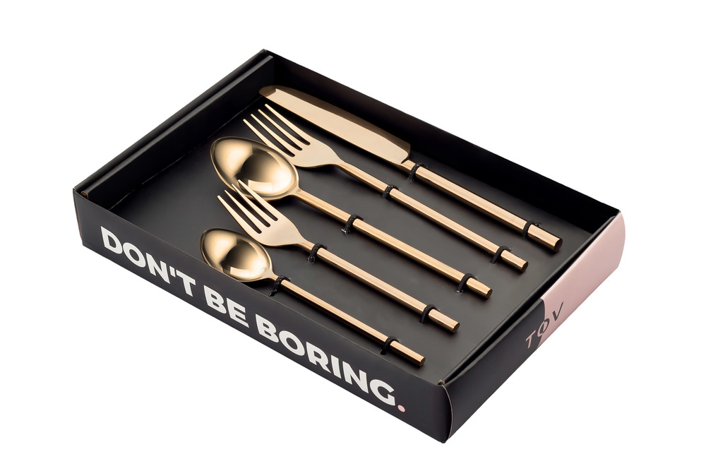 TOV Furniture - Stainless Steel Rose Gold 20 Piece Flatware Set