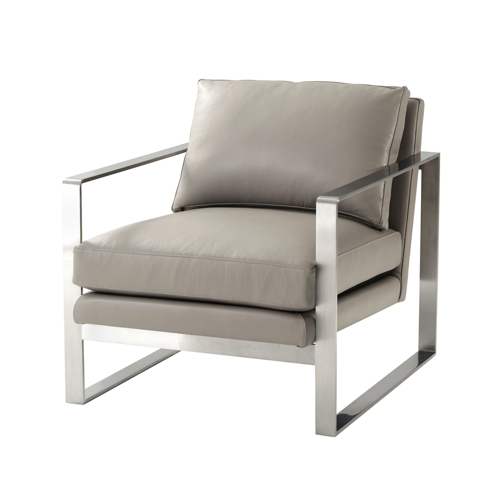 TA Studio-Quick Ship - Stainless Steel Upholstered Arm Chair