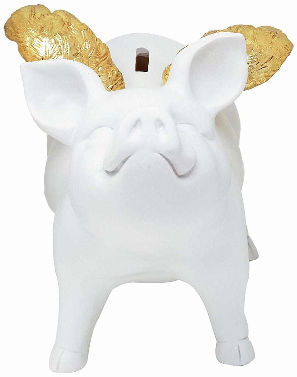 Interior Illusions Plus - White Piggy Bank With Wings