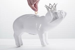 Thumbnail of Interior Illusions Plus - White Piggy Bank With Tiara