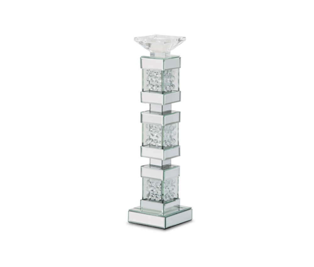 Michael Amini - Mirrored/Crystal Candle Holders, Tall, Pack/2