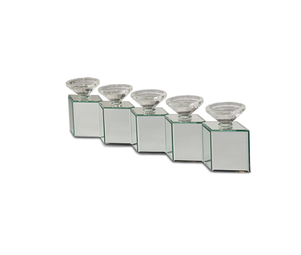 Michael Amini - Mirrored Cube Linear Candle Holder
