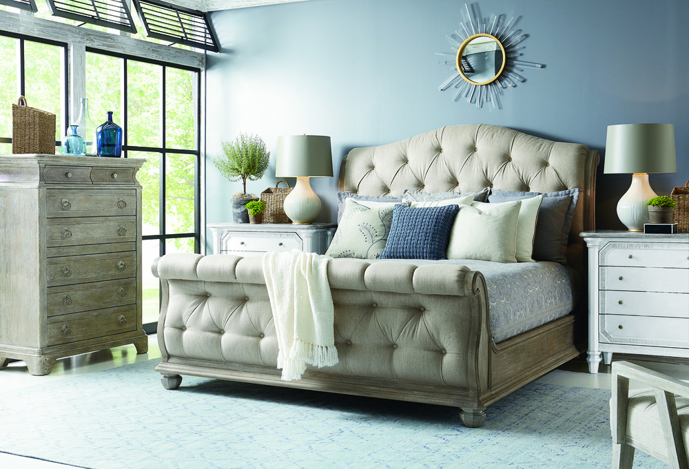 A.R.T. Furniture - Shoals Queen Upholstered Tufted Sleigh Bed
