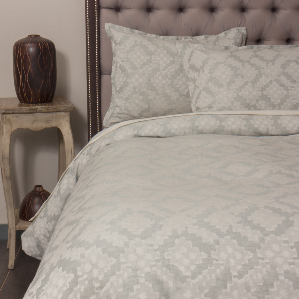 Amity Imports - Dawson French Ikat King Duvet Cover, Seaglass King