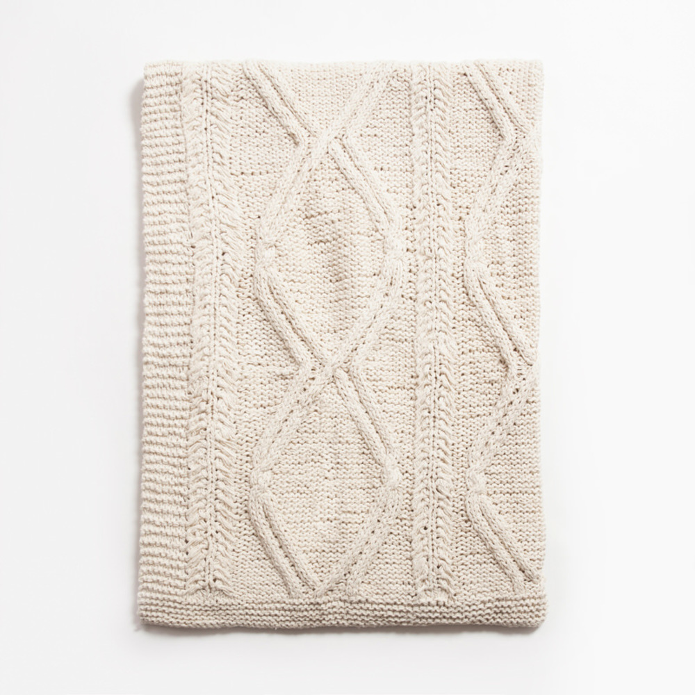 Amity Imports - Brody Knitted Cotton Throw in Natural