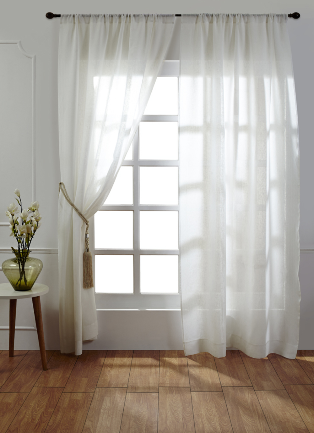 Amity Imports - Damara White Linen Curtains