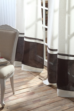 Thumbnail of Amity Imports - Orfeo Linen Banded Curtain in Ivory and Charcoal