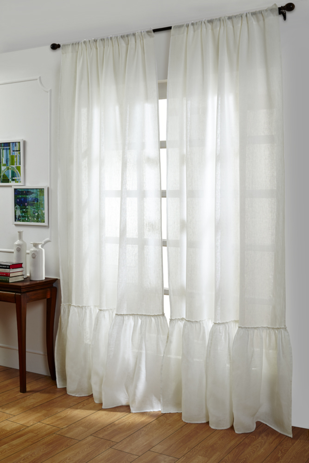 Amity Imports - Caprice White Linen Curtains