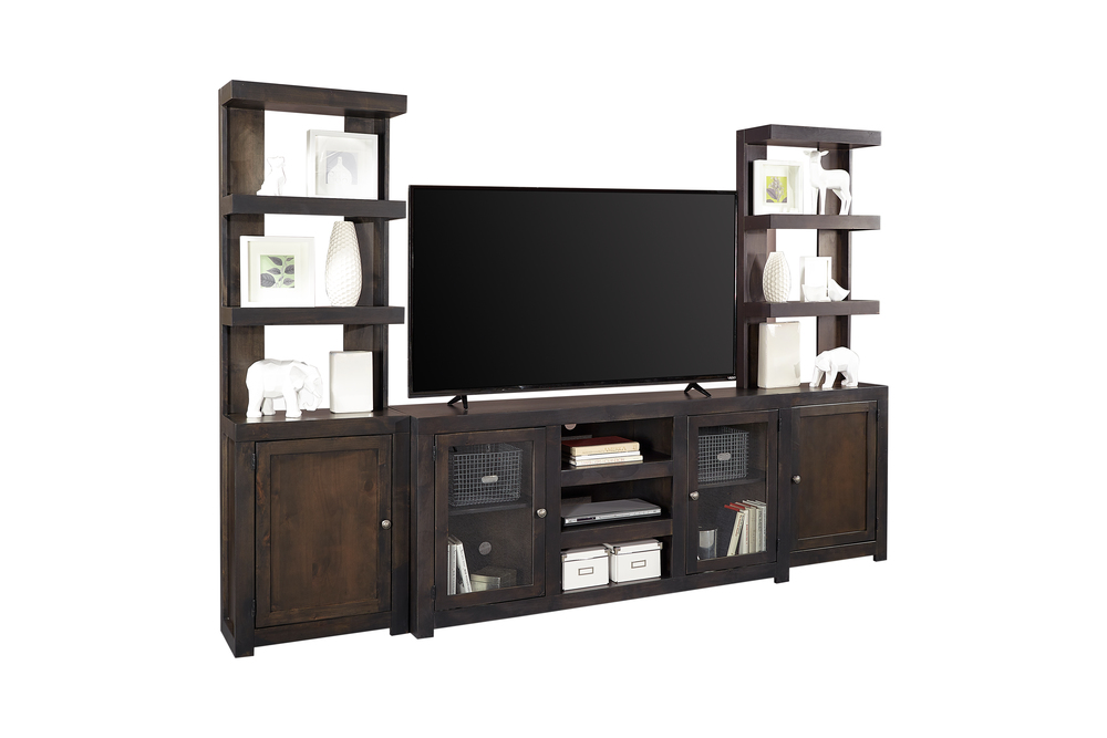 Aspenhome - Console with Two Doors and Left and Right Facing Floating Shelf Pier